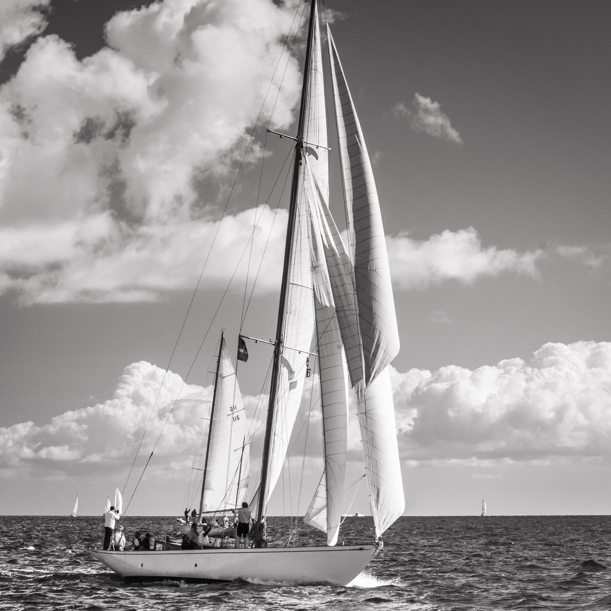 point of sail glass photo print Black and White image
