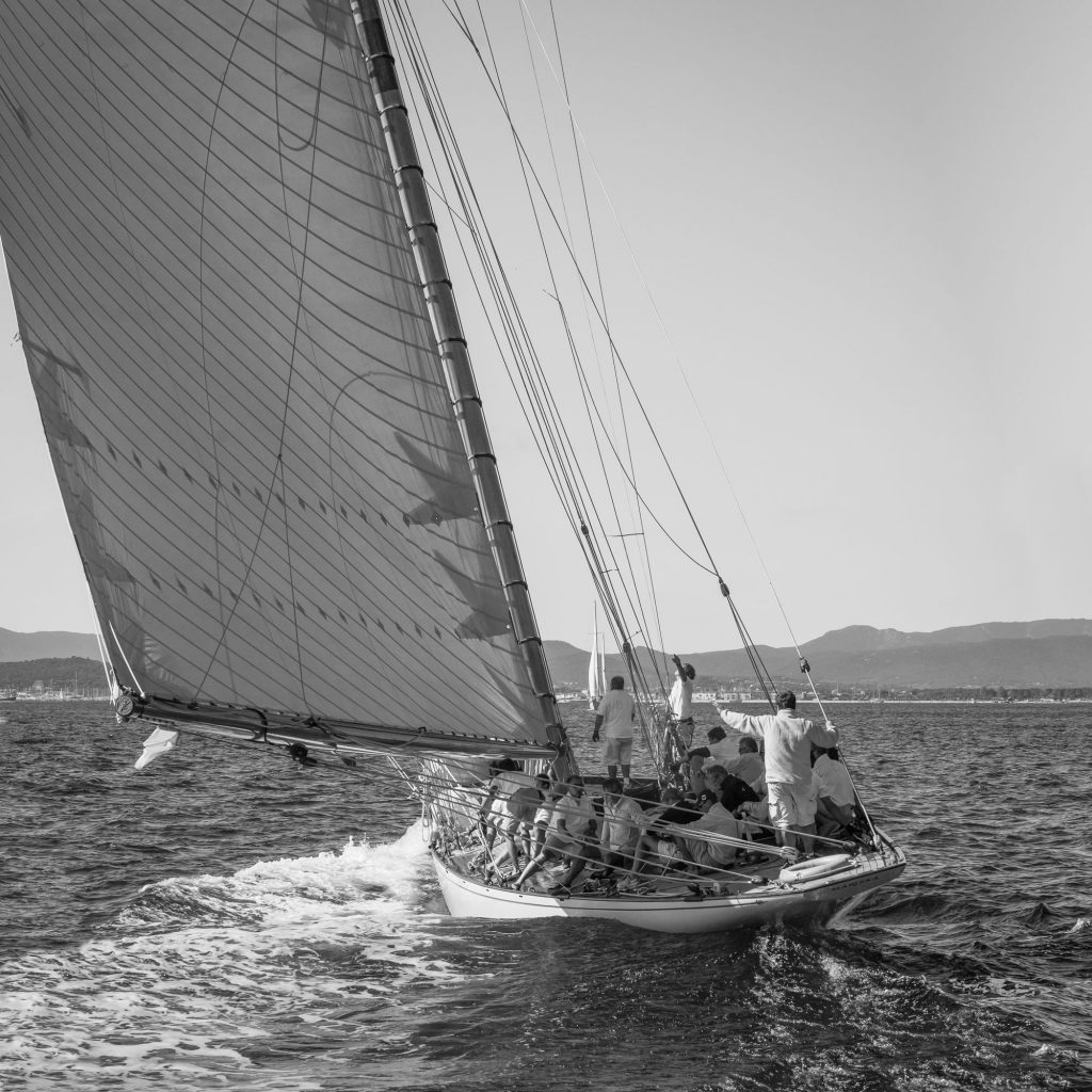 Tracking Sail Photo black and white print on 6mm tempered glass