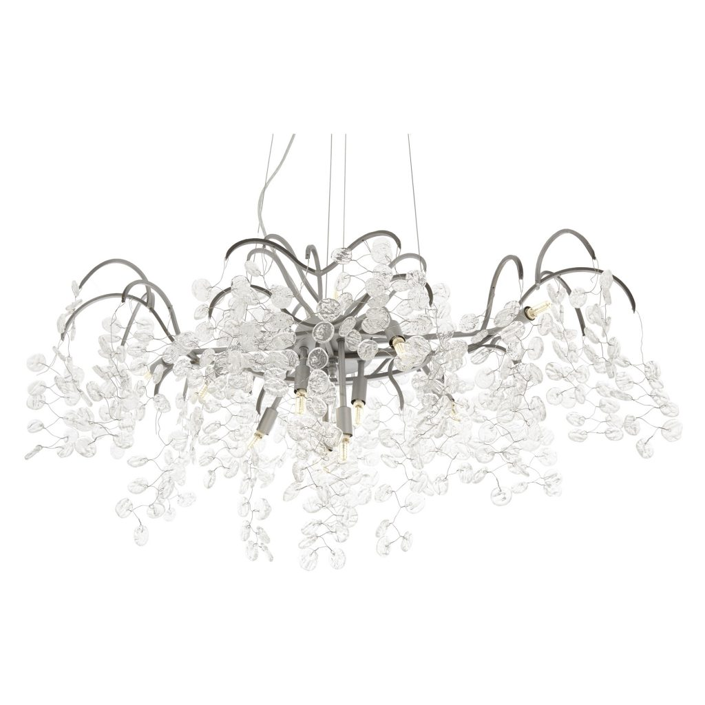 Aldora Chandelier Glass disk with silver finish
