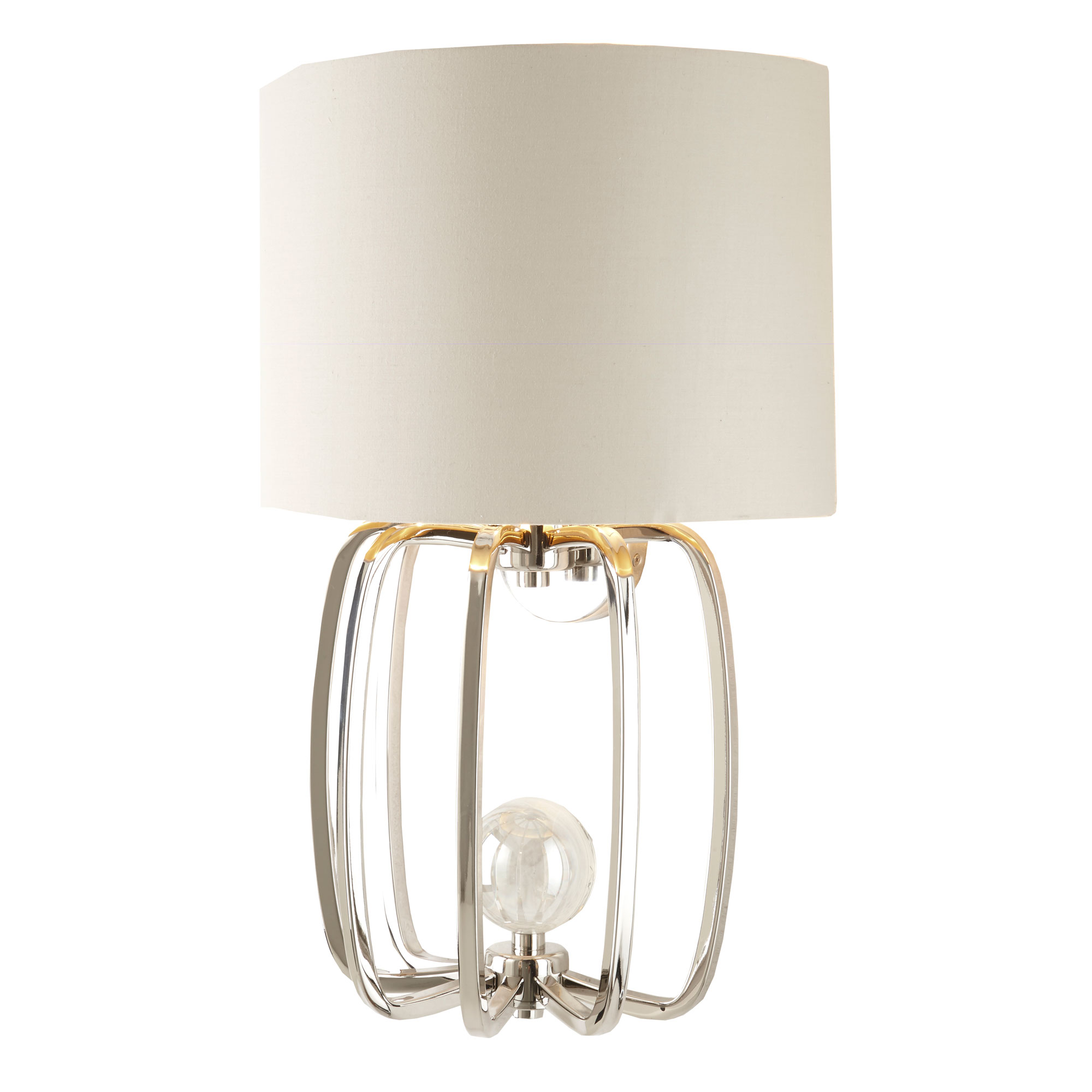 Cage Wall Lamp with crystal ball and nickel finish
