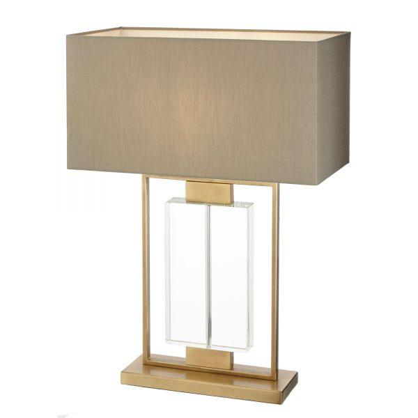 Ryston Table Lamp antique brass and crystal