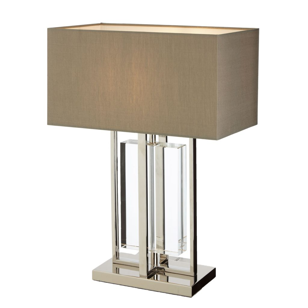 Sarre Table Lamp solid crystal table lamp with nickel finish