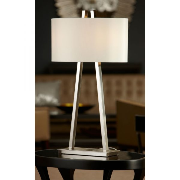 Baxtar Table Lamp brushed nickel table lamp with shade