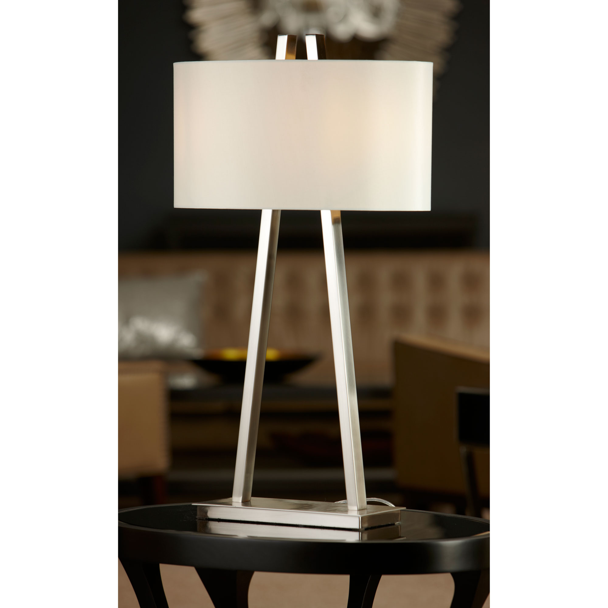 Baxtar Table Lamp brushed nickel table lamp with shade