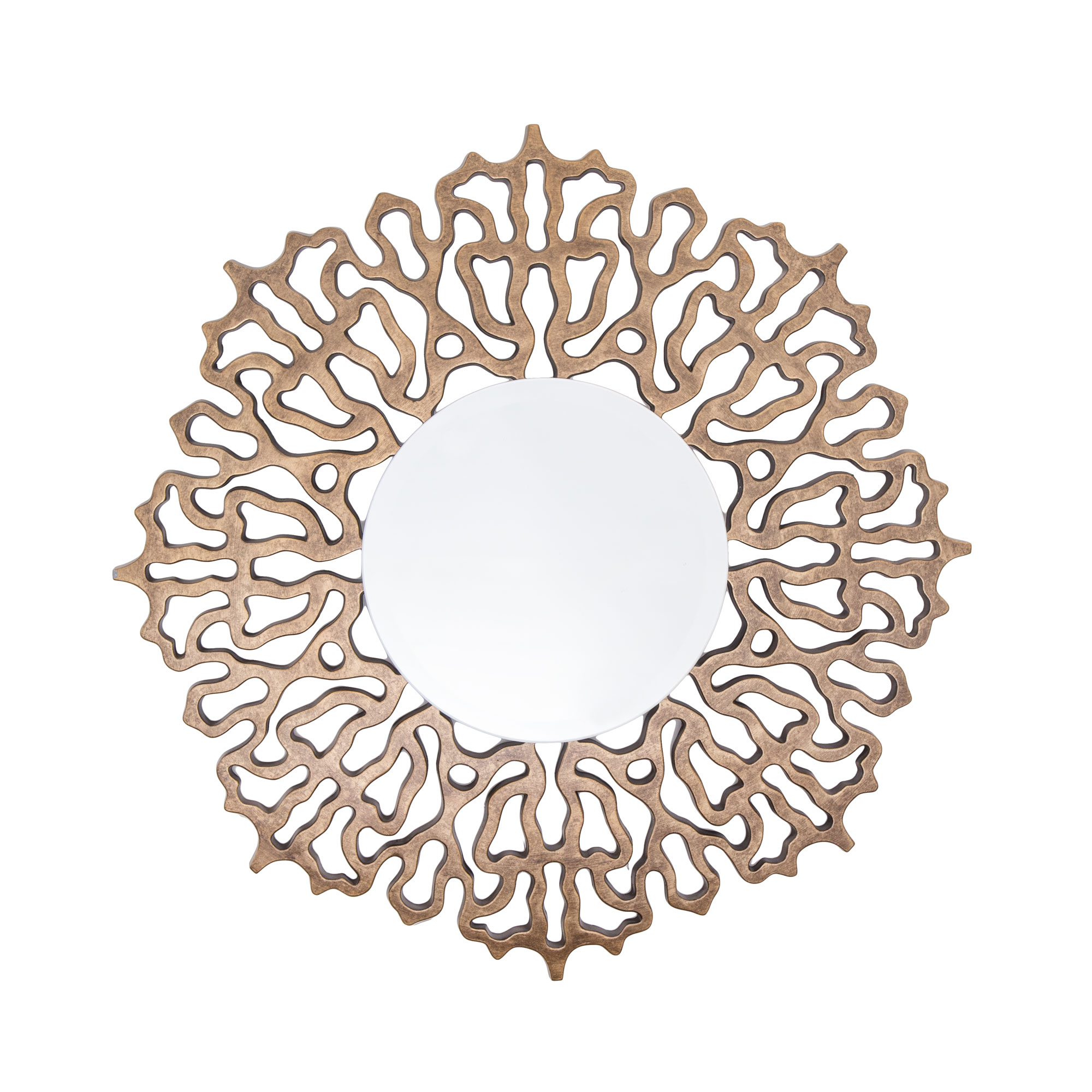 Colmar Mirror distressed bronze leaf