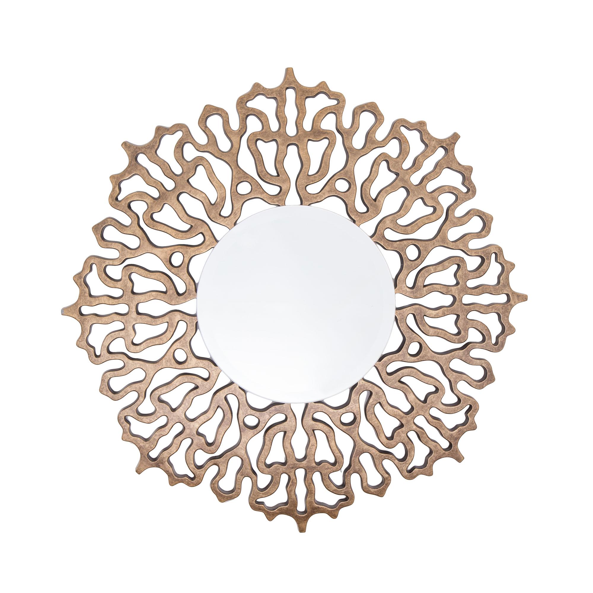 Colmar Mirror distressed bronze leaf