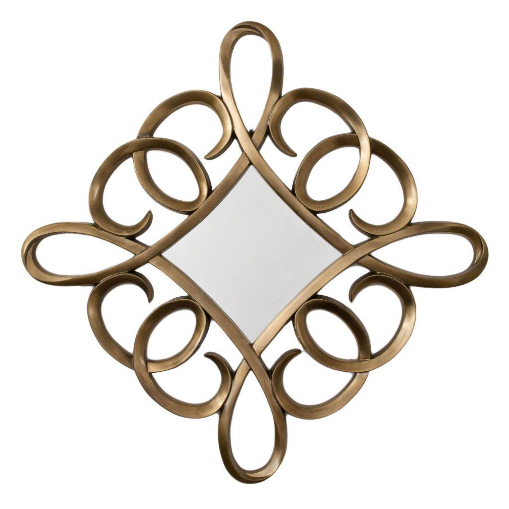 Square Swirl Mirror distressed gold leaf