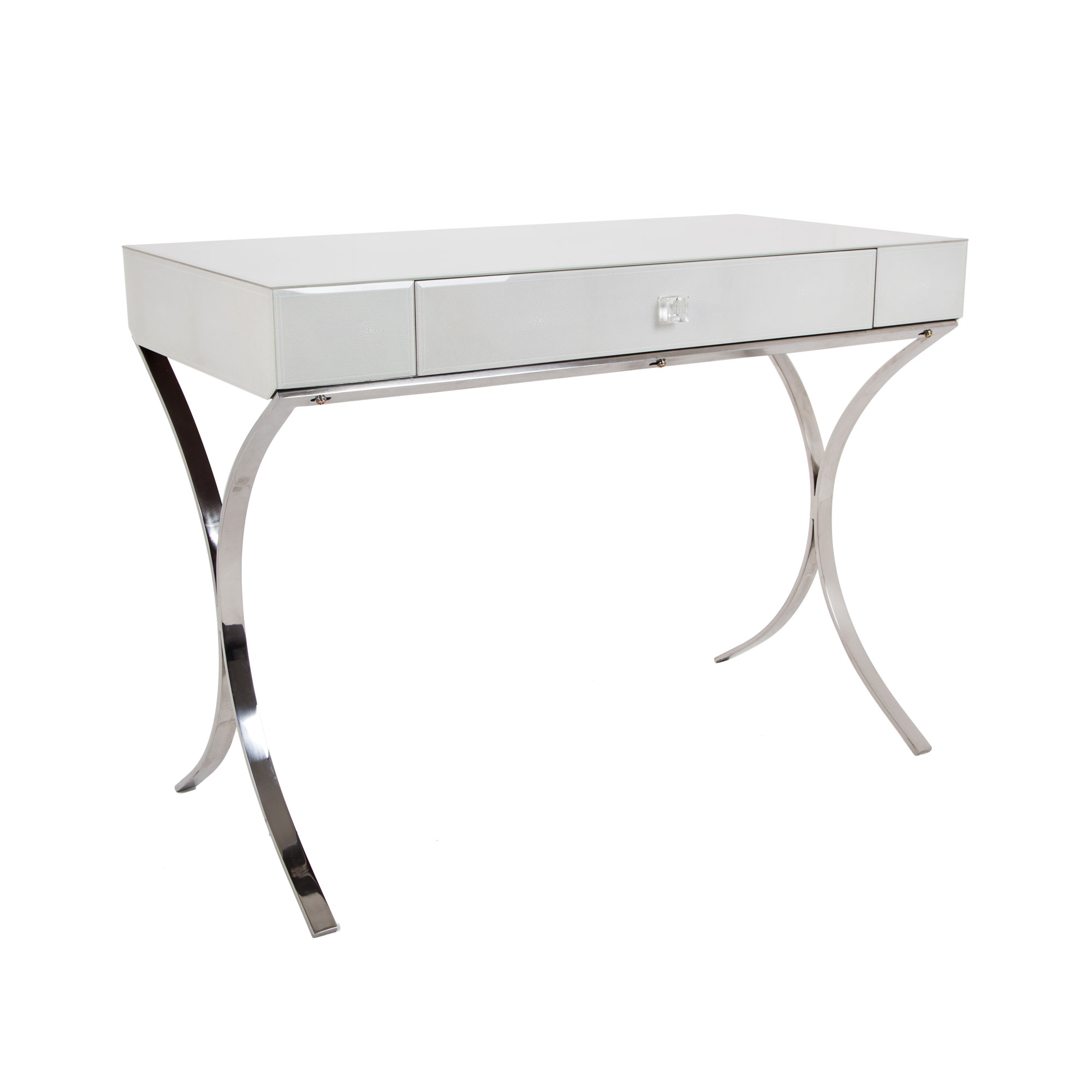 Iced dressing table with single drawer & stainless steel finish