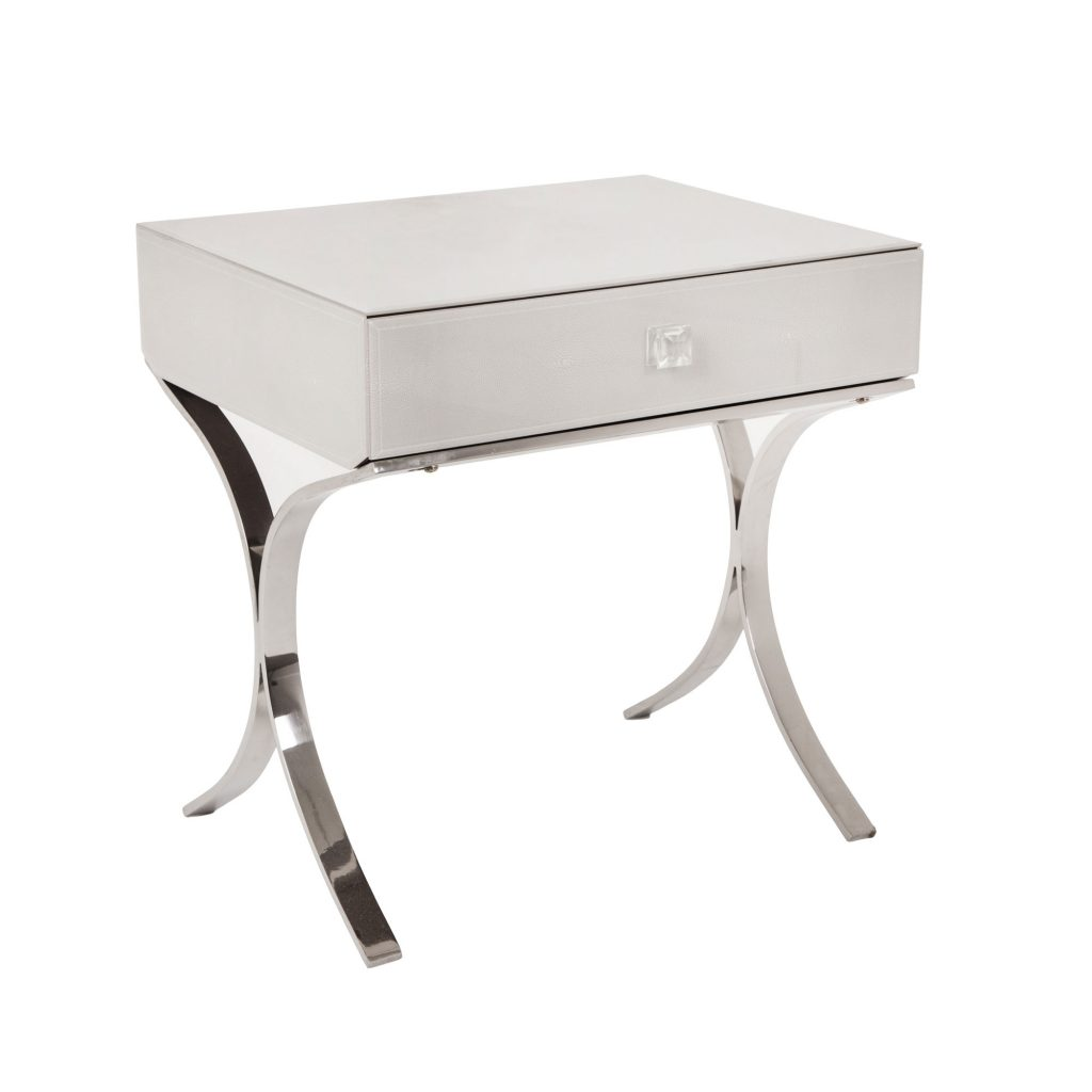 iced side table with stainless steel legs