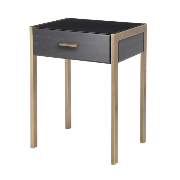 Ettore Side Table black printed glass