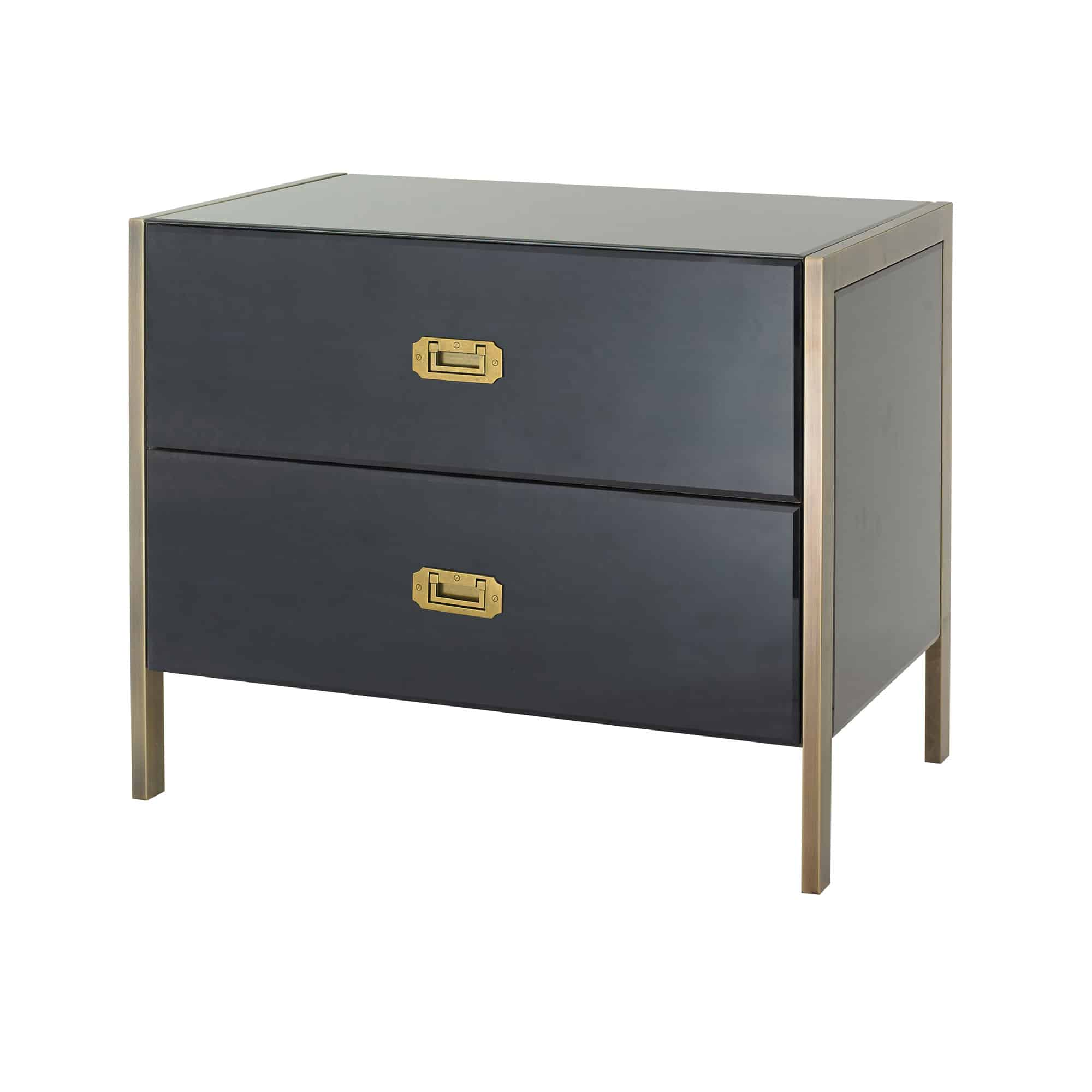 Ettore 2 Drawer Bedside printed plack glass