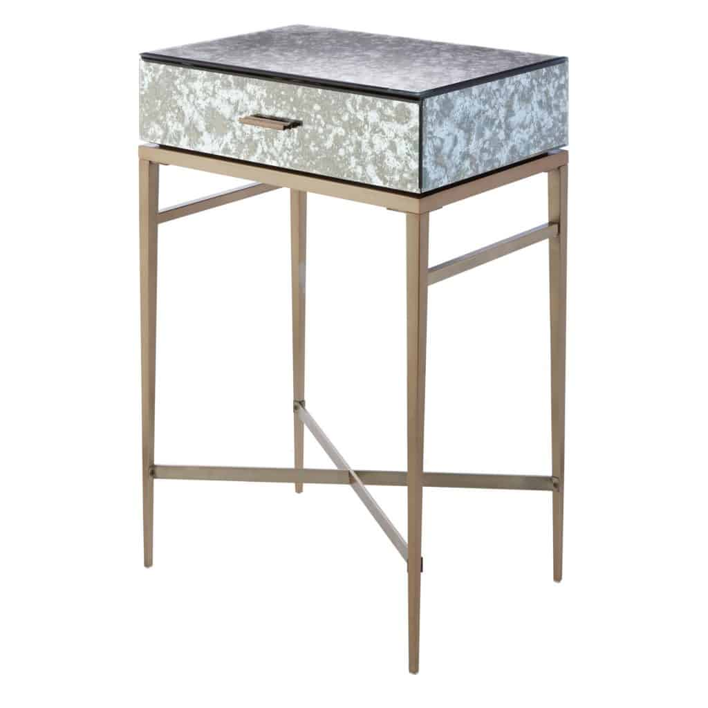 Dallin Side Table antique brass finish