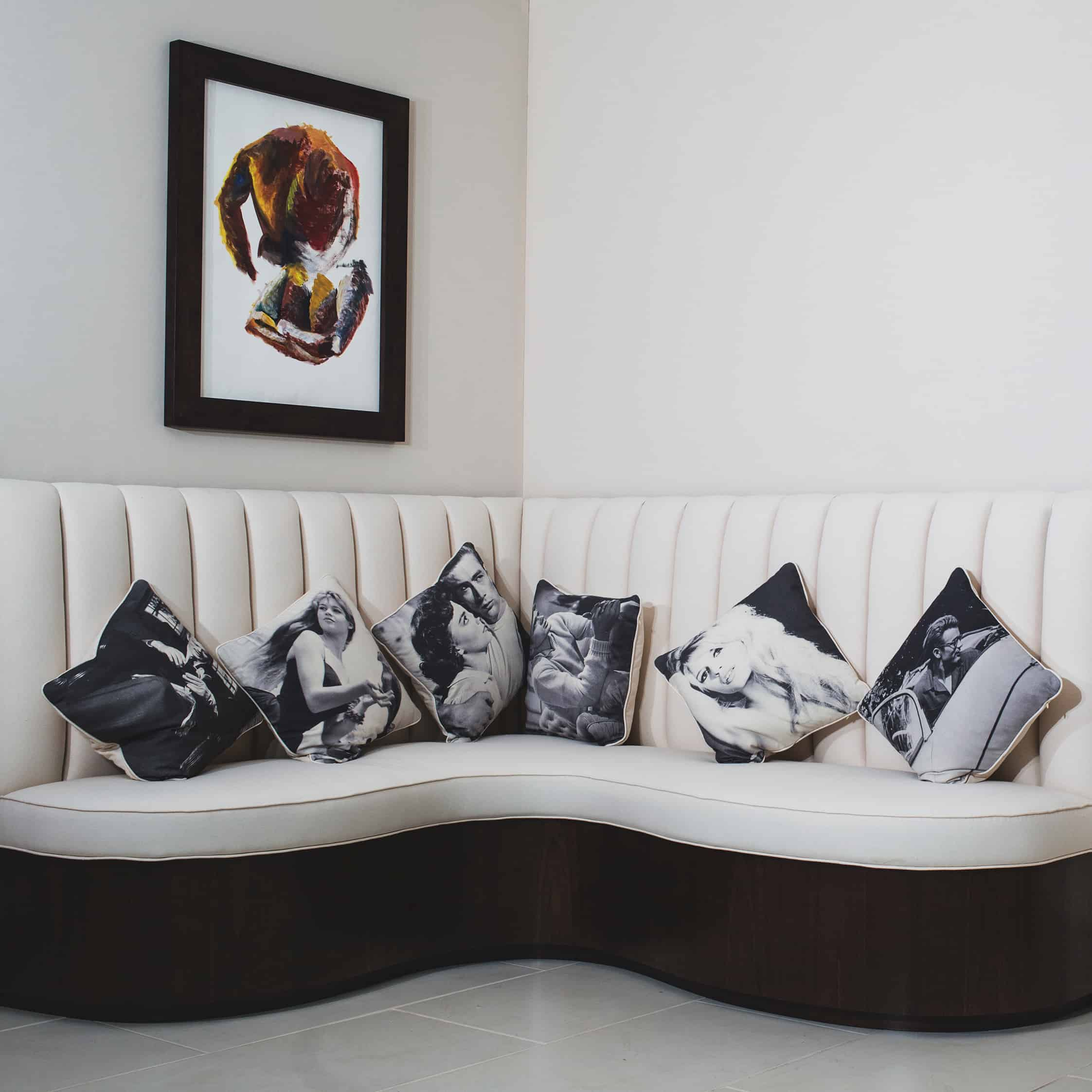 Famous faces scatter cushions, limited edition black and white portrait cushions