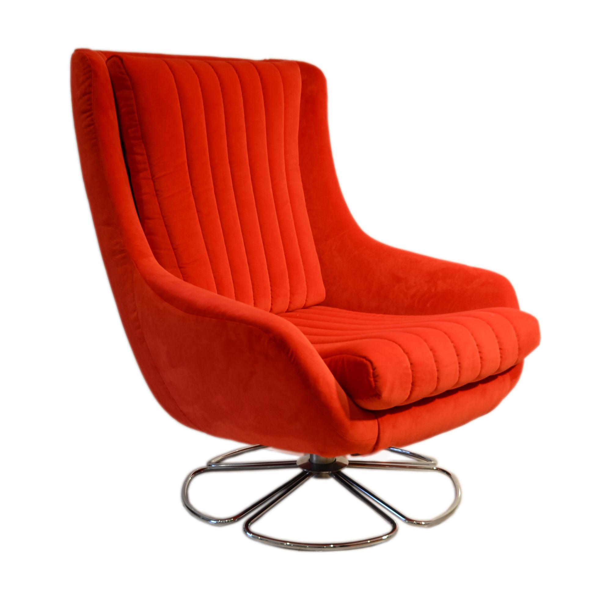 portobello chair side red swivel egg shape seat