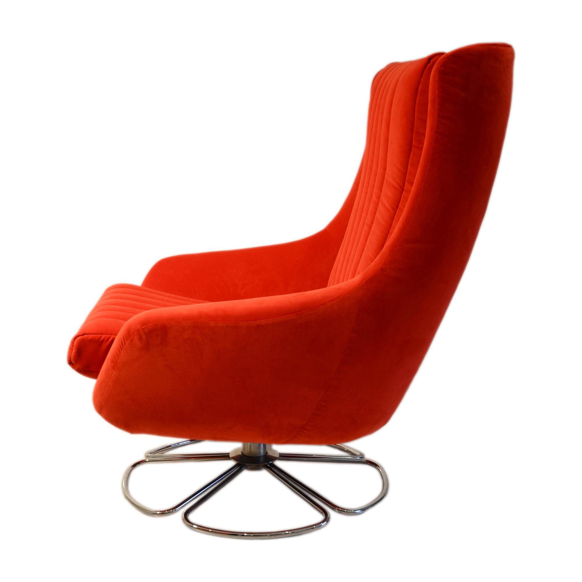 side view portobello chair red swivel egg