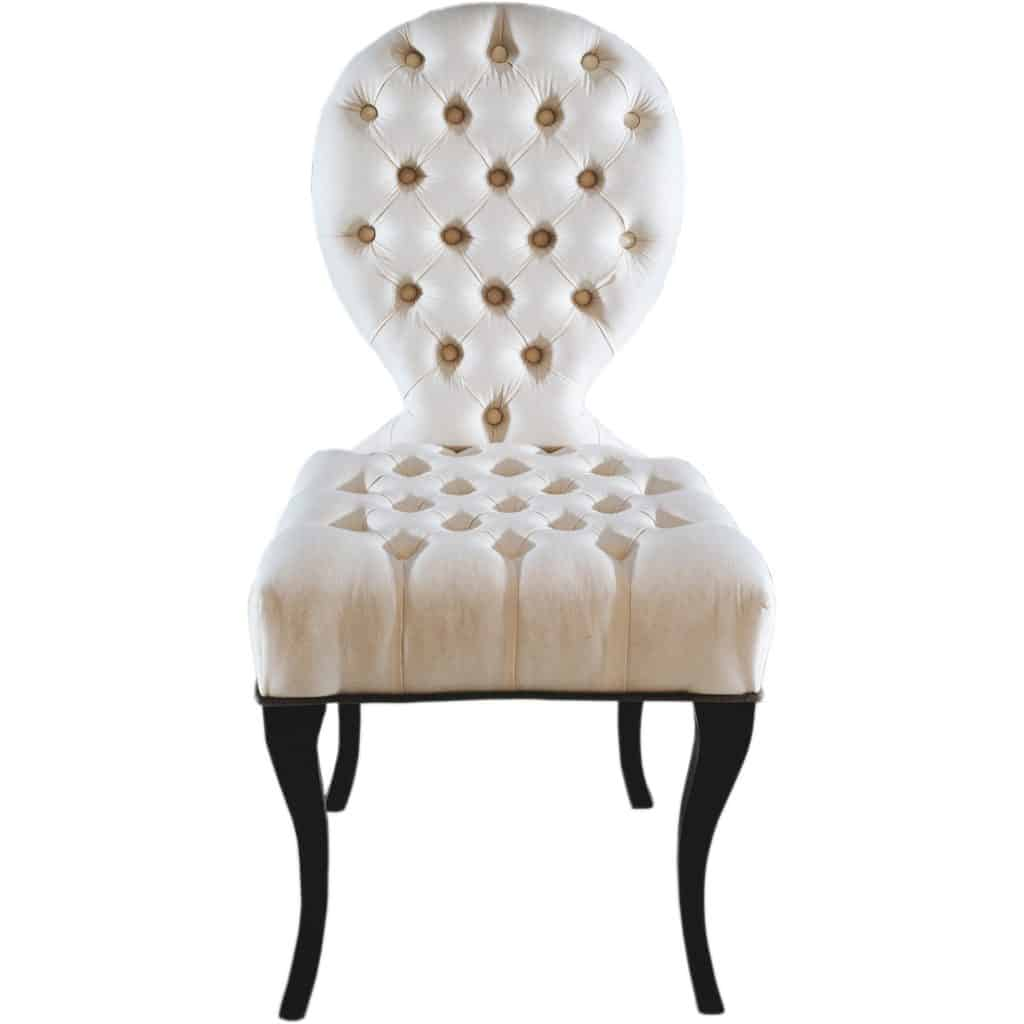 made to order infinity deep button dining chair front view